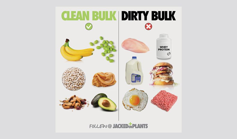 Vegan foods for clean bulking healthy